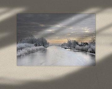 De boezem bij Groot Ammers op een mooie winterdag van Jesse de Boom