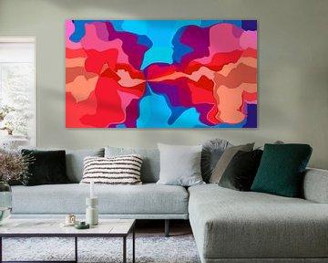 Distractions II (Abstracte Kunst in Rood en Blauw) van Caroline Lichthart