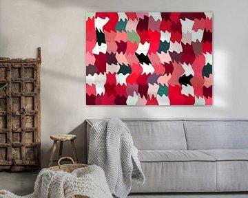 Shakin'  Reds (Abstract Golfpatroon in Rood) van Caroline Lichthart
