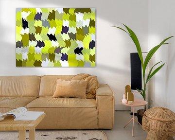 Shakin' Limes (Abstract Golfpatroon in groengeel) van Caroline Lichthart