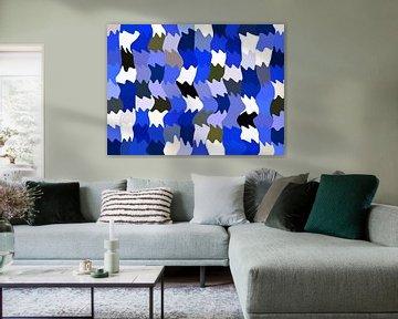 Shakin' Blues (Abstract Golfpatroon in blauw) van Caroline Lichthart