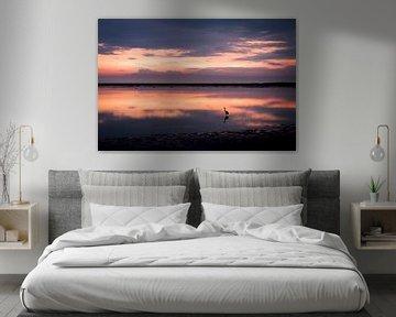 Zonsondergang over het Wad bij Schiermonnikoog van Steven Boelaars