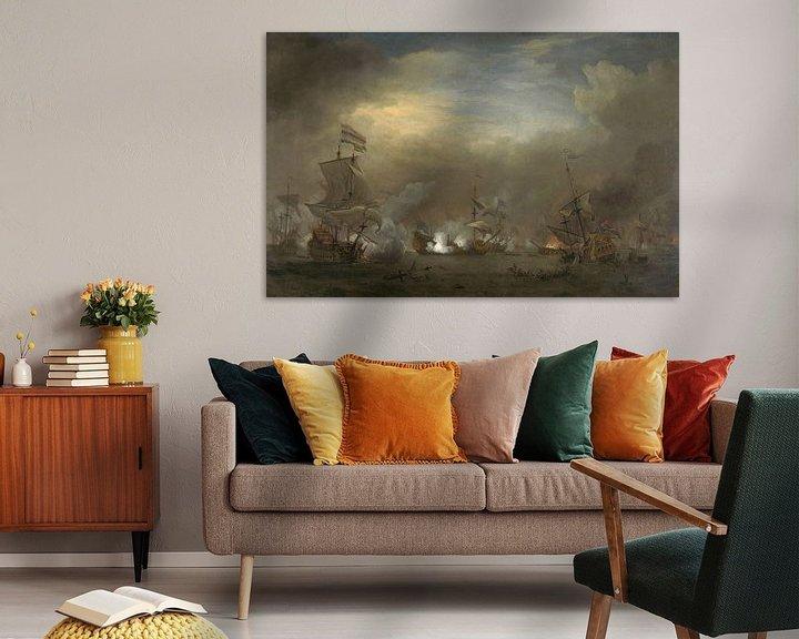 Sfeerimpressie: VOC Zeeslag schilderij: Cornelis Tromp op het schip de 'Gouden Leeuw'