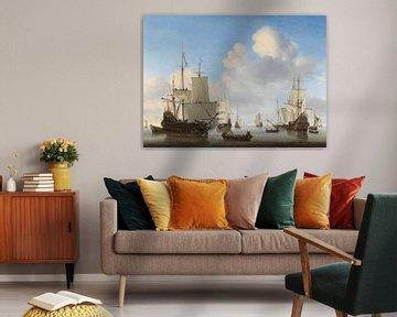 Zee schilderij: Hollandse schepen op een kalme zee, Willem van de Velde (II), ca. 1665