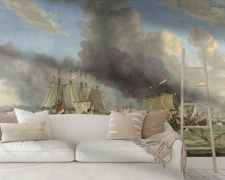 Sfeerimpressie behang: VOC Zeeslag schilderij: Slag bij Livorno, Reinier Nooms, 1653 - 1664