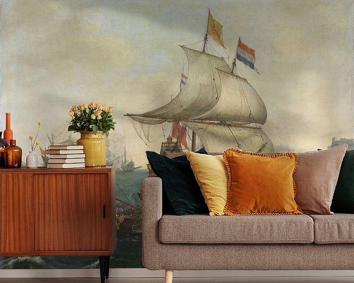 Sfeerimpressie behang: VOC Zeeslag schilderij. Schilderijen uit de Gouden Eeuw van Nederland
