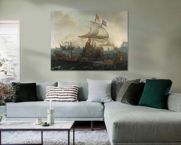 Sfeerimpressie: VOC Zeeslag schilderij. Schilderijen uit de Gouden Eeuw van Nederland