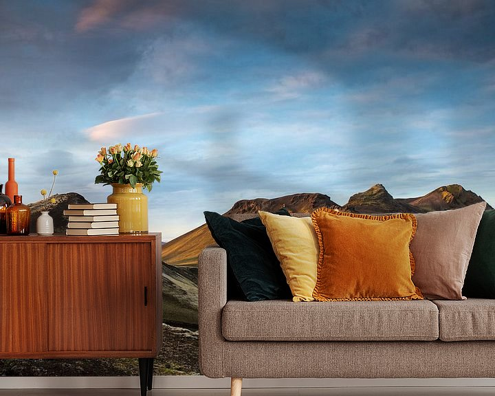 Sfeerimpressie behang: Zonsondergang over de bergen van Ab Wubben