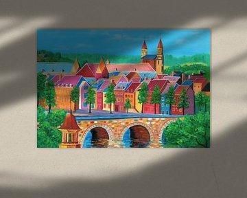 Maastricht Malerei mit Oude Brug / Sint Servaas Brücke und Blick auf Vrijthof von Kunst Company