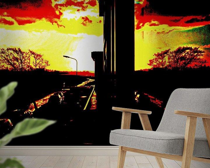 Sfeerimpressie behang: Zonsondergang in het raam van Geert Heldens
