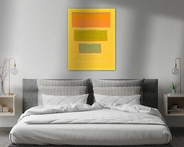 Abstraktes Gemälde mit gelb, orange und grün von Rietje Bulthuis