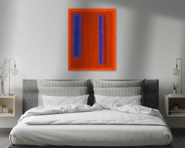 Abstrakte Malerei mit roten und blauen von Rietje Bulthuis