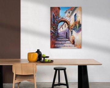 Mediterrane beelden - Alley geschilderd van Marita Zacharias