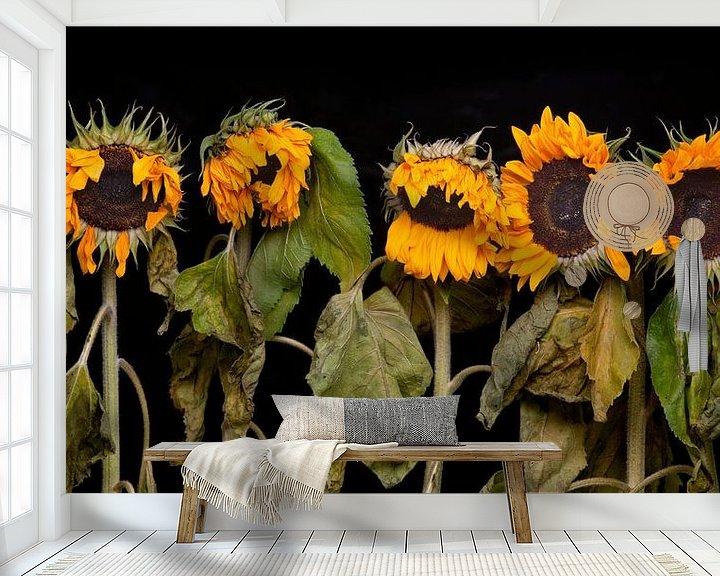 Sfeerimpressie behang: Vijf zonnebloemen van Toon de Vos