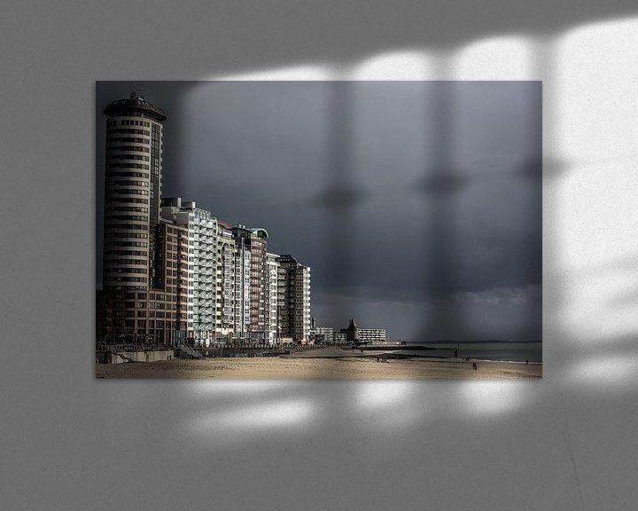 Sfeerimpressie: Boulevard van Vlissingen onder een donkere lucht (kleur) van Fotografie Jeronimo