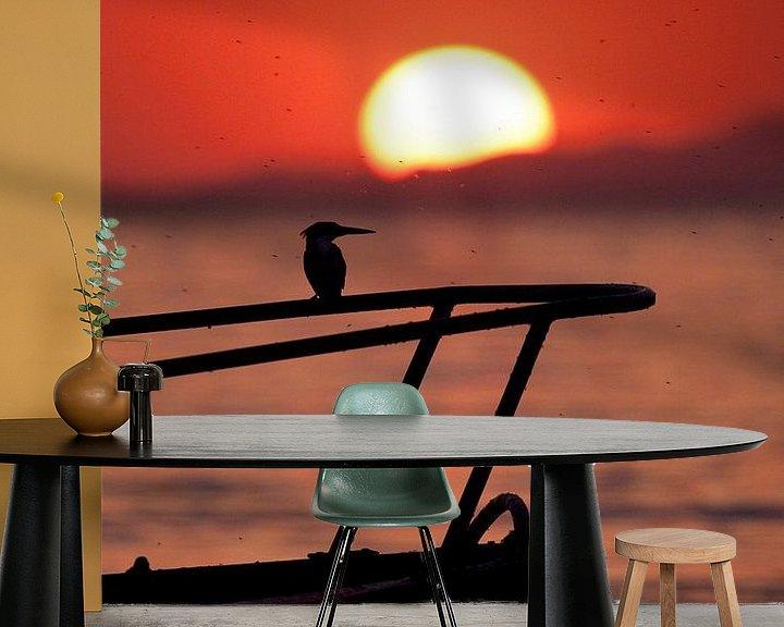 Sfeerimpressie behang: Ijsvogel sunset van Paul Jespers