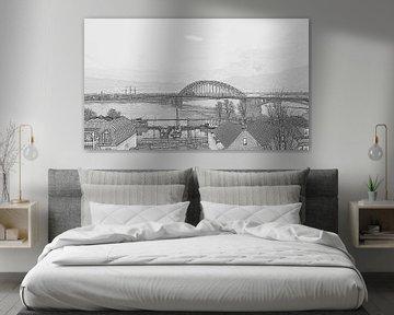 Waal Brücke Zeichnung nijmegen von Groothuizen Foto Art