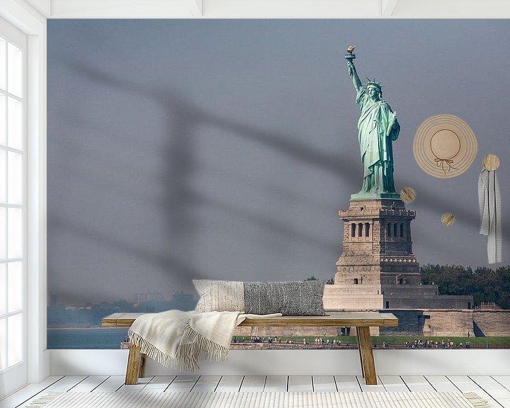 Sfeerimpressie behang: Vrijheidsbeeld New York vanaf ferry  van JPWFoto