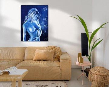 Bluerotik - Nackte Frau in Blau von Marita Zacharias