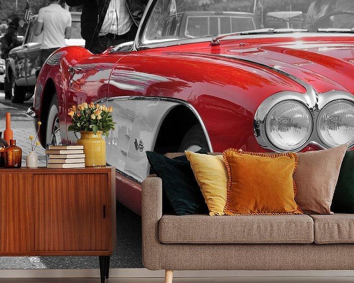 Sfeerimpressie behang: Corvette C1 Red van Titus Dingjan