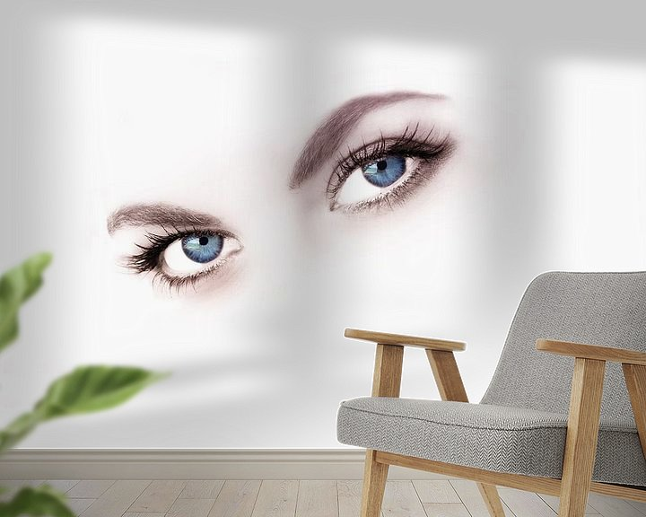 Sfeerimpressie behang: Beauty blue eyes van Abra van Vossen
