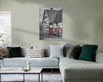 Vakwerkhuisje  zwart-wit in Epen van John Kreukniet