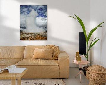 Éruption Geyser en Islande sur Rietje Bulthuis