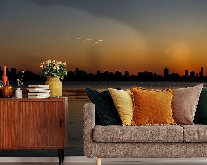 Sfeerimpressie behang: Skyline van Rotterdam van MS Fotografie   Marc van der Stelt