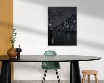 Voorstraathaven in Dordrecht in de avond - zwart-wit van Tux Photography
