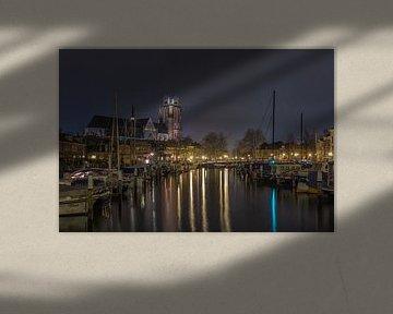 Grote Kerk en Nieuwe Haven in Dordrecht in de avond van Tux Photography