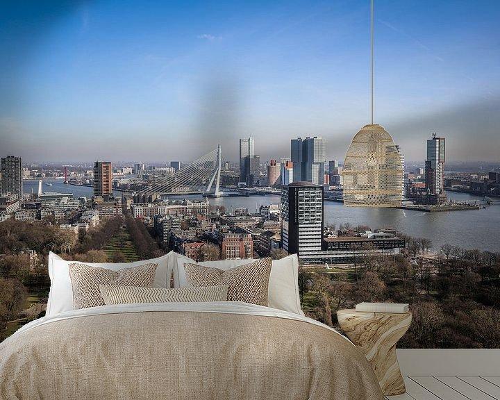 Sfeerimpressie behang: UItzicht vanaf de Euromast op de kop van Zuid en de Erasmusbrug in Rotterdam van Fotografie Jeronimo