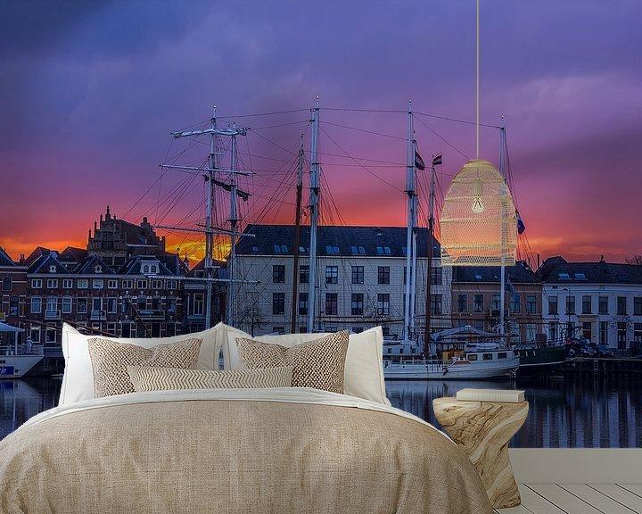 Sfeerimpressie behang: Zonsondergang van Willem  Bentink