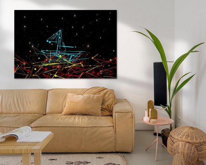 Sfeerimpressie: at night, the sea under a starry sky is colorful van Dagmar Marina