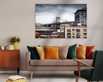 Manhattan Bridge New York USA van Mark de Boer - Artistiek Fotograaf