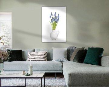 Blauwe druifjes in kannetje van Roderick van de Berg