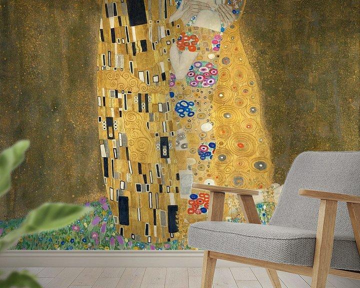 Sfeerimpressie behang: De Kus van Gustav Klimt