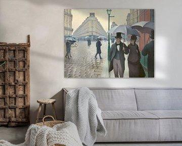 Rue de Paris, temps de pluie van Gustave Caillebotte