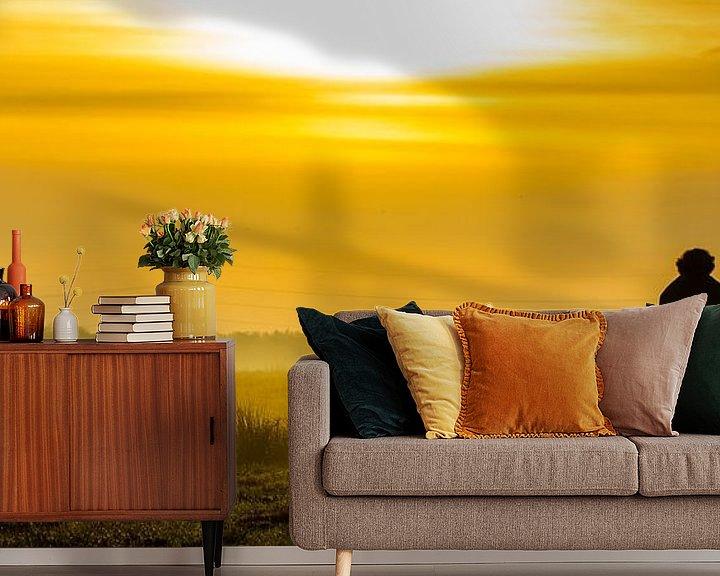 Sfeerimpressie behang: Zonsondergang De Onlanden Peize van Gert Brink