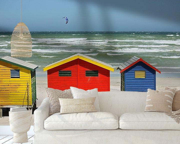 Sfeerimpressie behang: southafrica ... muizenberg beach huts I van Meleah Fotografie