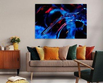 Abstract IJs  in Blauw Rood Turquoise en Zwart van Alice Berkien-van Mil