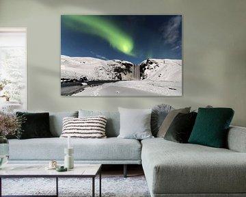 Skogarfoss with Aurora Borealis van Ab Wubben