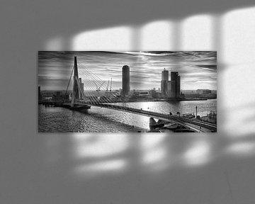 Rotterdam Skyline in the morning (Zwartwit) von Rob van der Teen