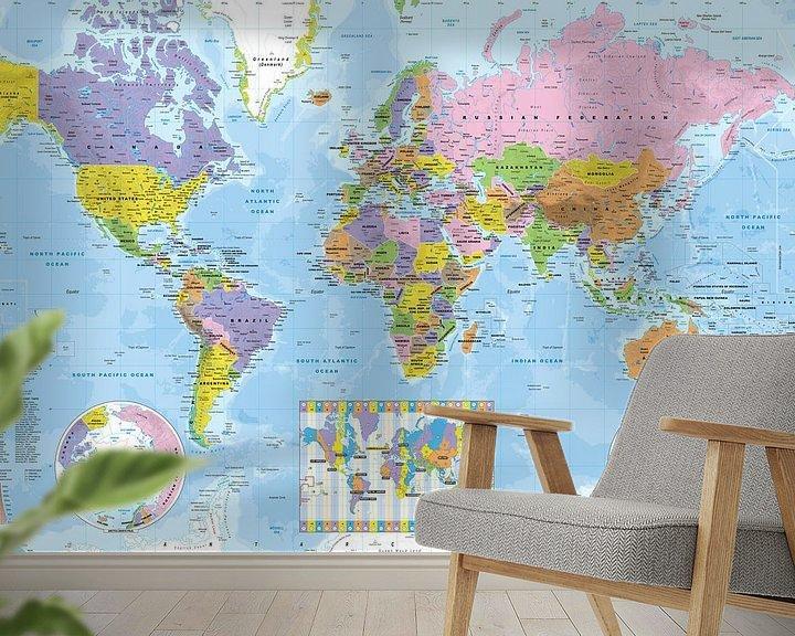 Sfeerimpressie behang: Wereldkaart met tijdzones van MAPOM Geoatlas