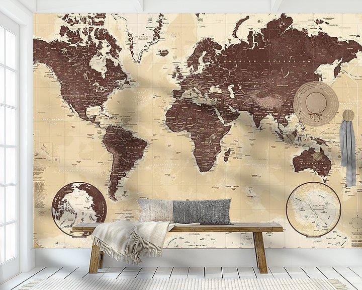 Sfeerimpressie behang: Wereldkaart, Bruin van MAPOM Geoatlas