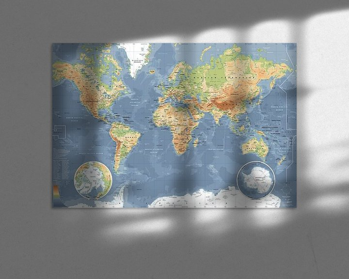 Sfeerimpressie: Wereldkaart, Klassiek van MAPOM Geoatlas