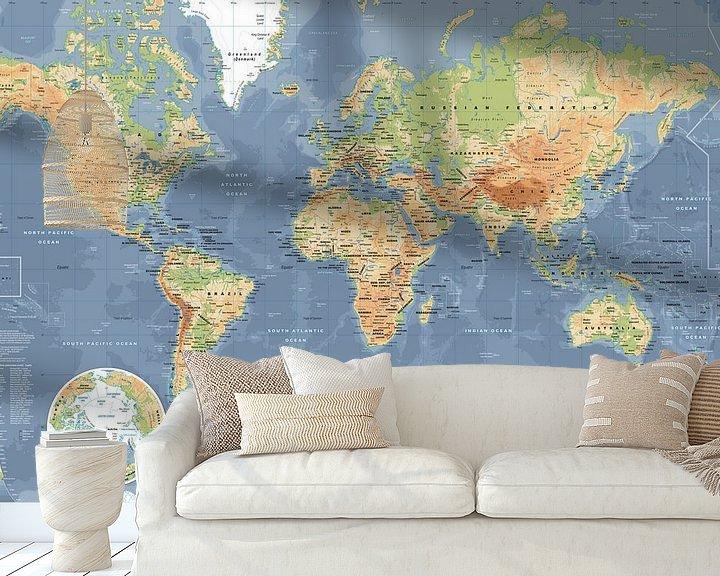 Sfeerimpressie behang: Wereldkaart, Klassiek van MAPOM Geoatlas