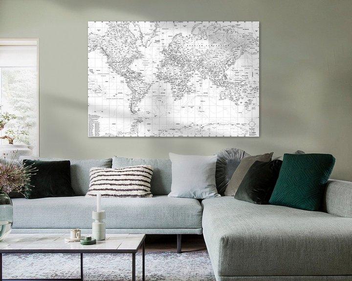 Sfeerimpressie: Wereldkaart, Zwart-wit van MAPOM Geoatlas
