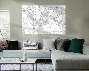 Wereldkaart, Zwart-wit van MAPOM Geoatlas