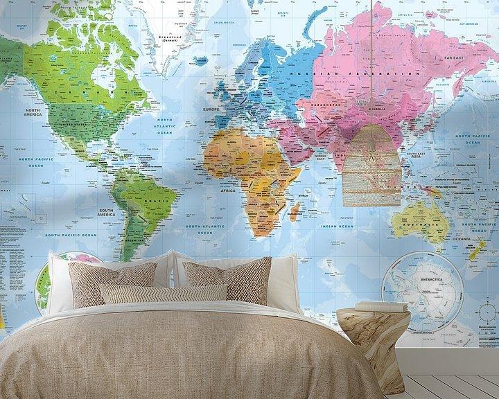 Sfeerimpressie behang: Wereldkaart, Continenten en oceanen van MAPOM Geoatlas