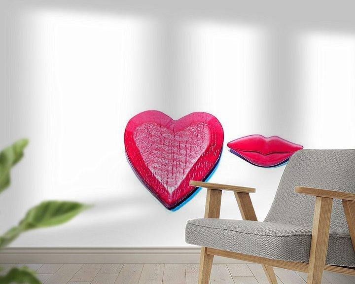 Sfeerimpressie behang: De liefde, een kus = U! van Norbert Sülzner